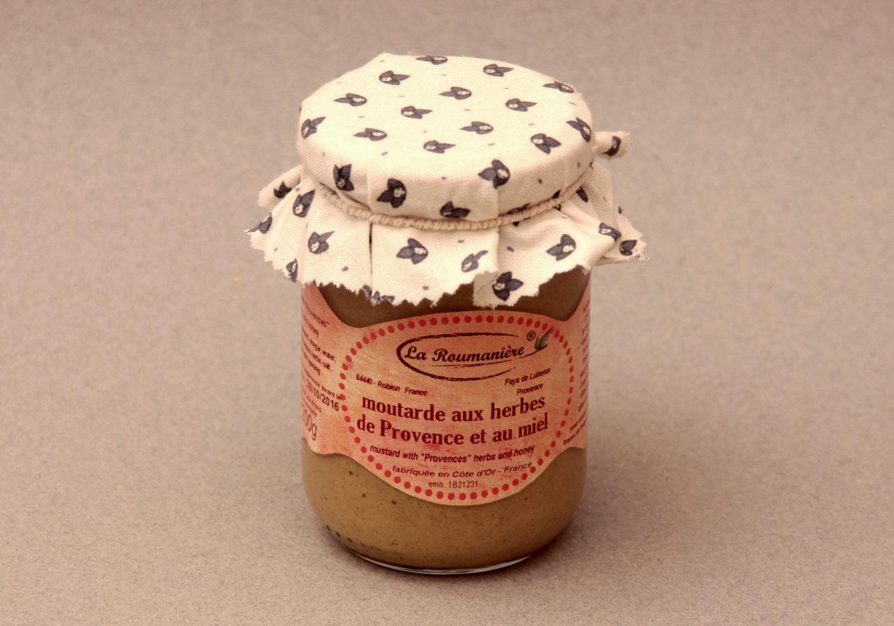 moutarde au miel et aux herbes de provence 200g la roumani re. Black Bedroom Furniture Sets. Home Design Ideas